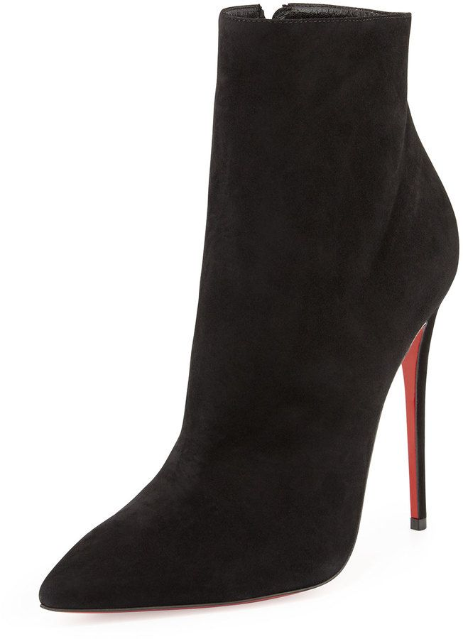 6abcf4b6b5f Christian Louboutin So Kate Suede Red Sole Bootie, Black on ...