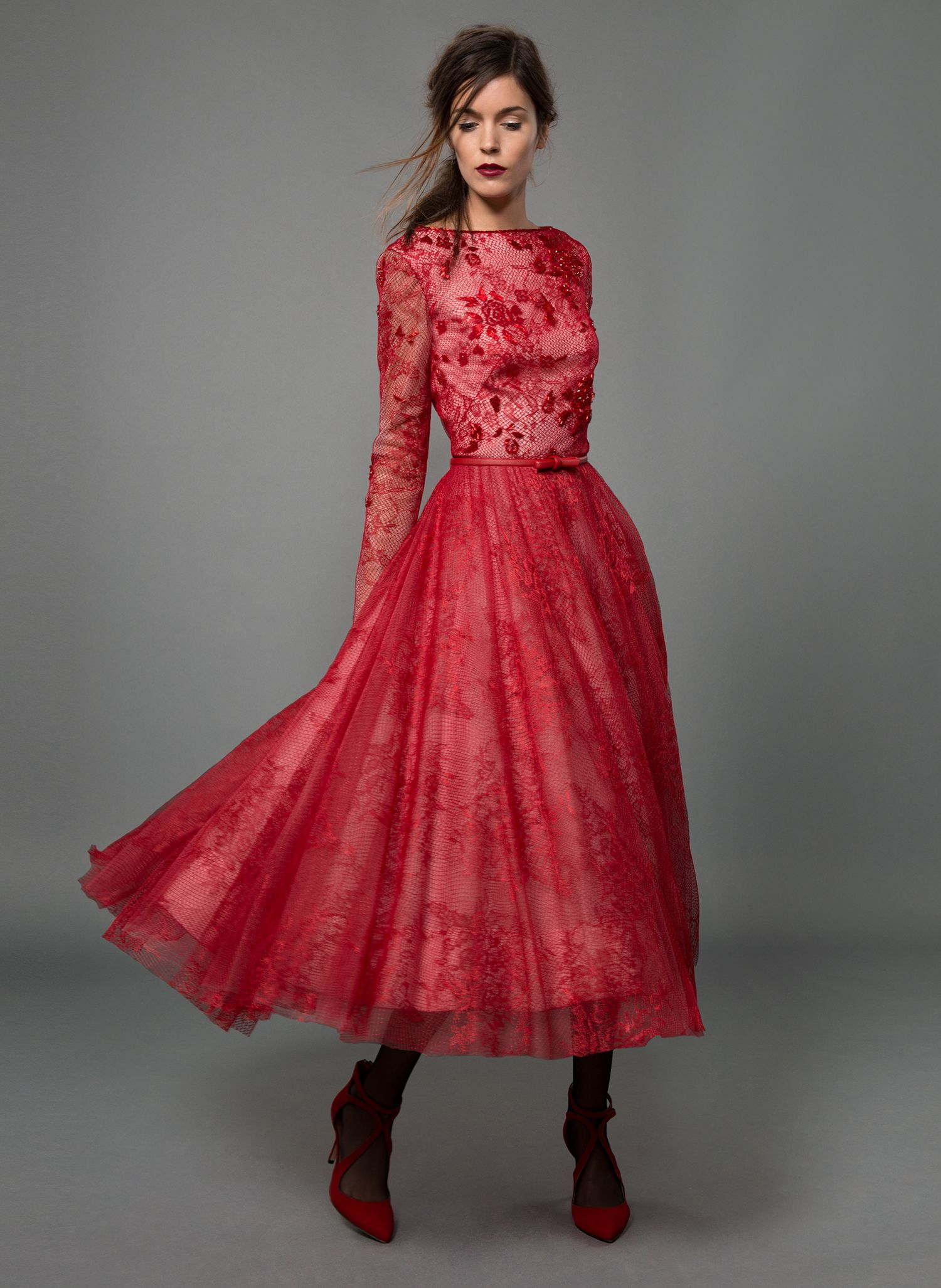 Beaded lace and tulle long sleeve circle skirt dress and grosgrain