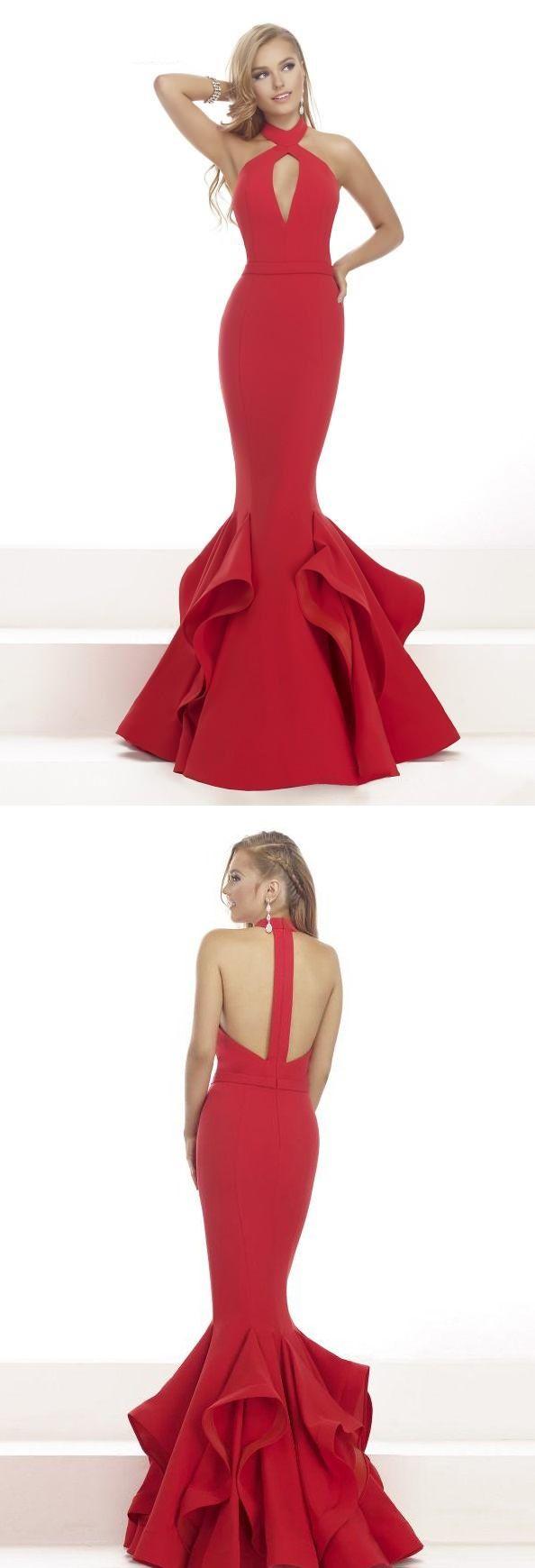 Chic modern long trumpetmermaid strapless ruffled red satin prom