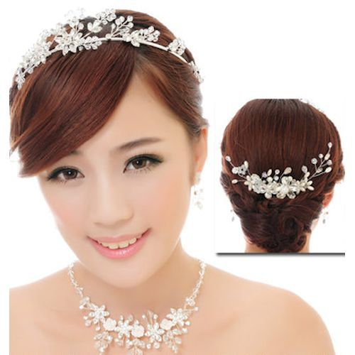 White Silver Bridal Wedding Headpiece Necklace Earrings Jewelry Sets SKU-10801633