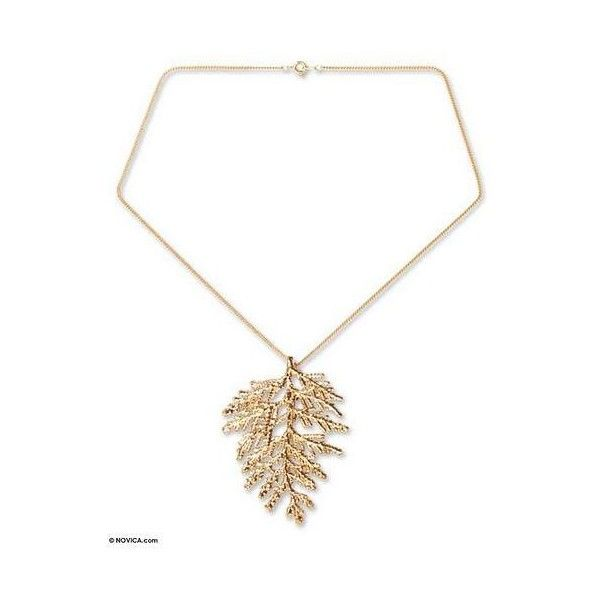 Novica natural leaf gold plated pendant necklace 2375 rub novica natural leaf gold plated pendant necklace 2375 rub liked on polyvore featuring jewelry necklaces brass pendant gold plated chain necklace aloadofball Images