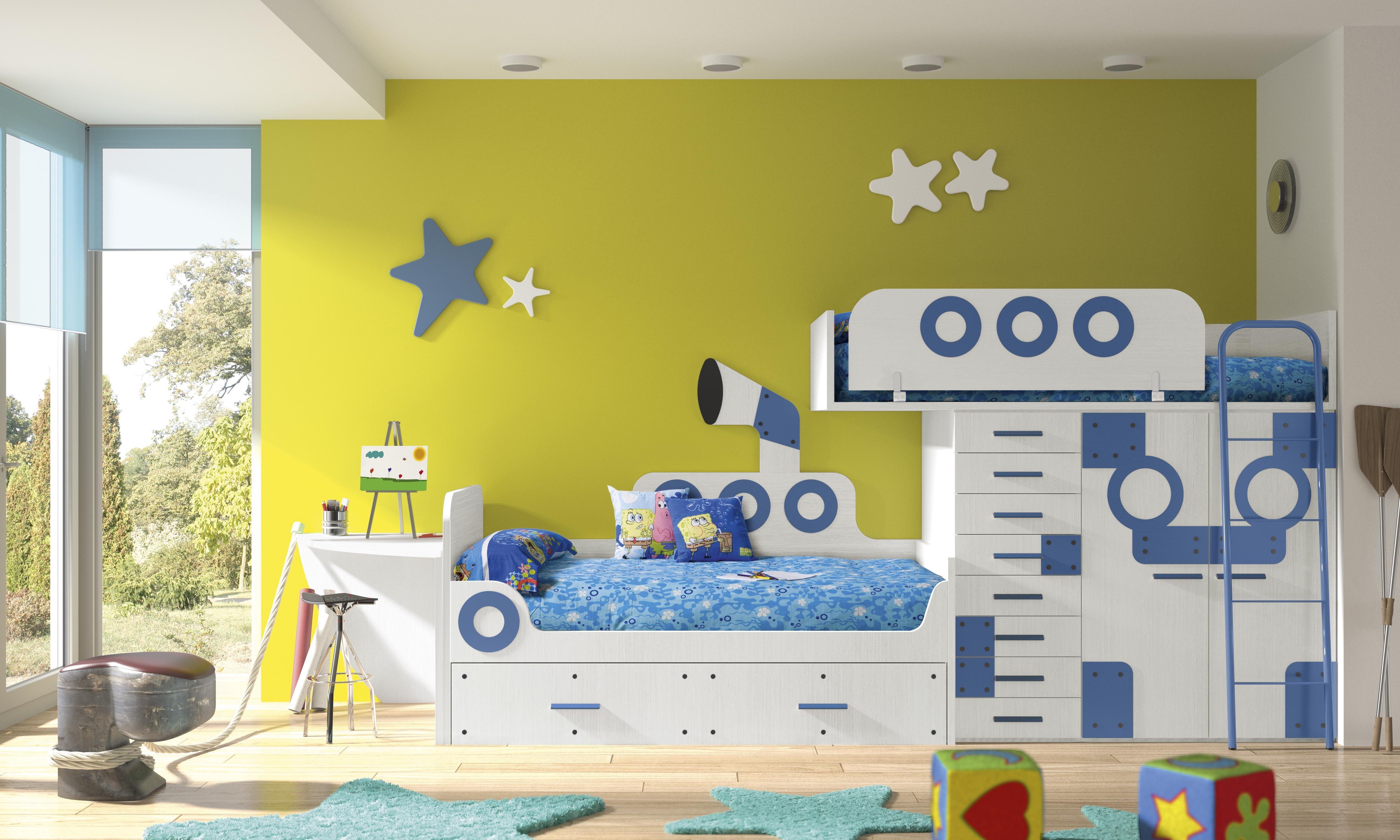 Habitaci n infantil tem tica dibujos animados bob1 fondo - Dibujo habitacion infantil ...