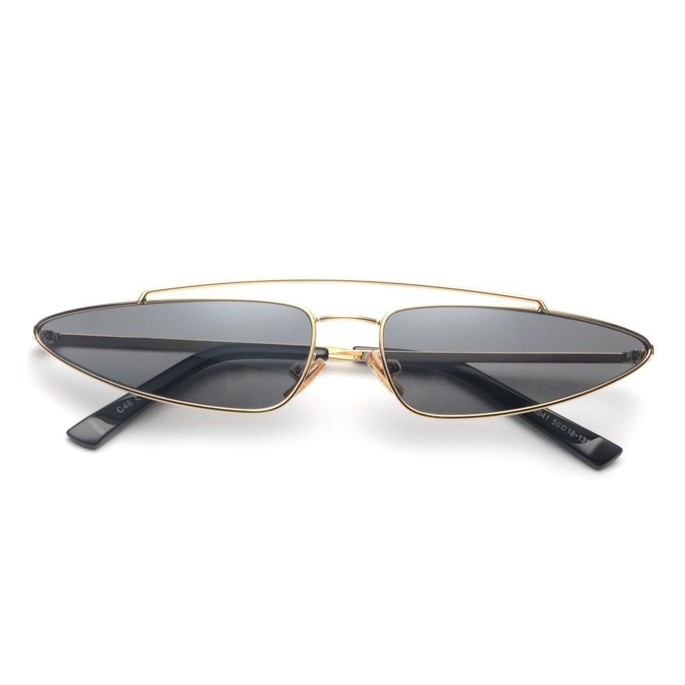 6d4b5461f64 Peekaboo red triangle sunglasses women cat eye small frame metal yellow  pink fashion vintage retro sun glasses for women 2018