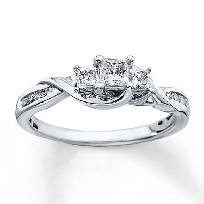 8323351cd 3-Stone Diamond Ring 1/2 ct tw Princess-cut 10K White Gold | Cute ...