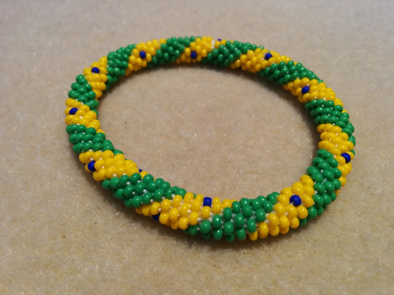 Beaded Crochet Roll on Handmade Bracelet Brazil Flag Colors by ...