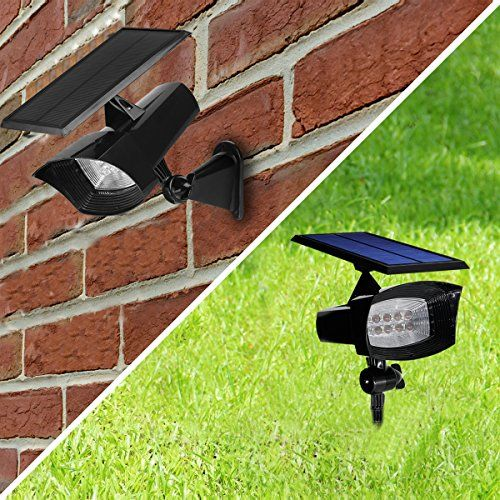 Solar Spotlight Outdoor Landscape Lights Yihong 8 Led 400 Lumen Super Bright Inground Light Wall For Garage Lawn Flag Patio Deck Driveway Pool
