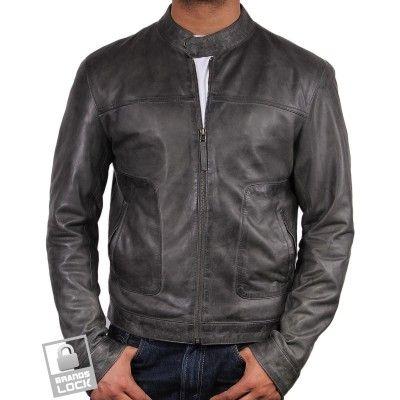 Men's Grey Leather Bomber Jacket - Mushy | Style | Pinterest
