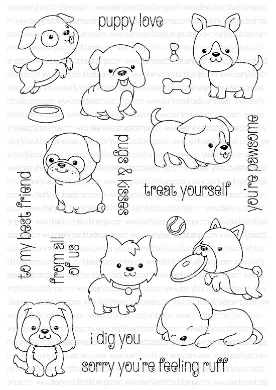 Clearly Besotted Playful Pooches Clear Stamp Set Desenhos