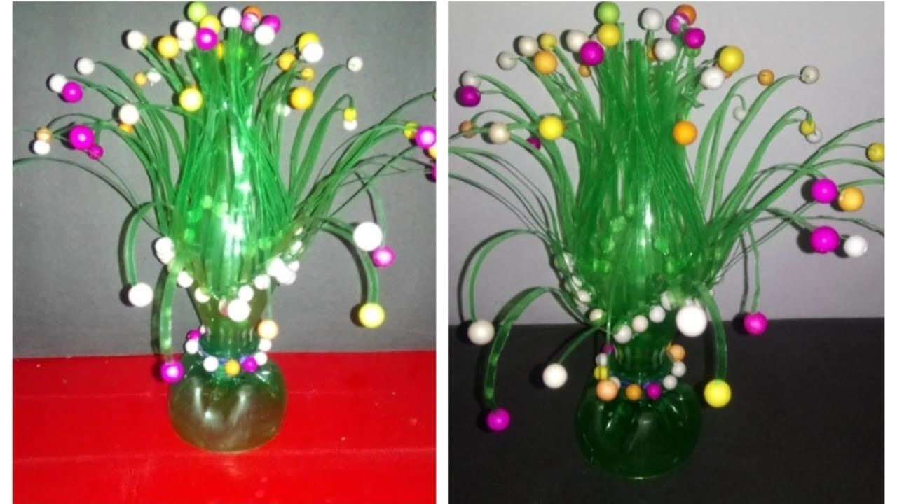 Easy DIY Make Empty Plastic Bottle Vase Making Craft Water Recycl