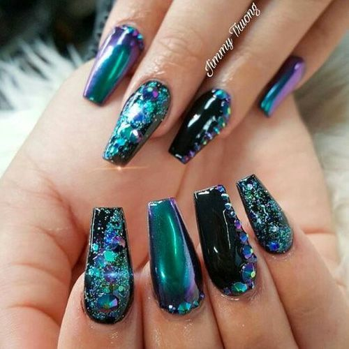 Mermaid Nails Chrome Glitter Studs Coffin Shape Nails Nail Designs Trendy Nails
