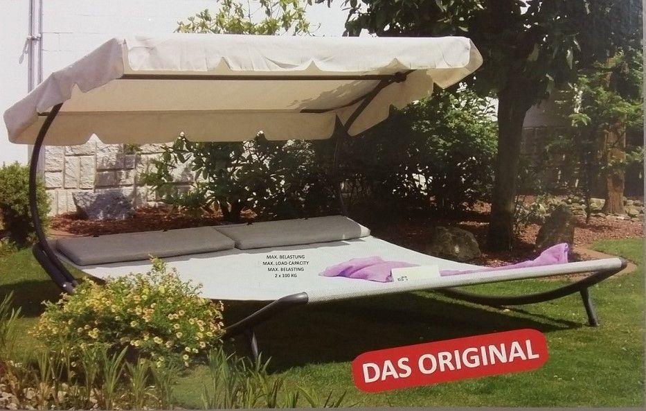 Gartenliege dach  LECO Doppelliege mit Dach Gartenliege Liege Relaxliege Sonnenliege 2 ...
