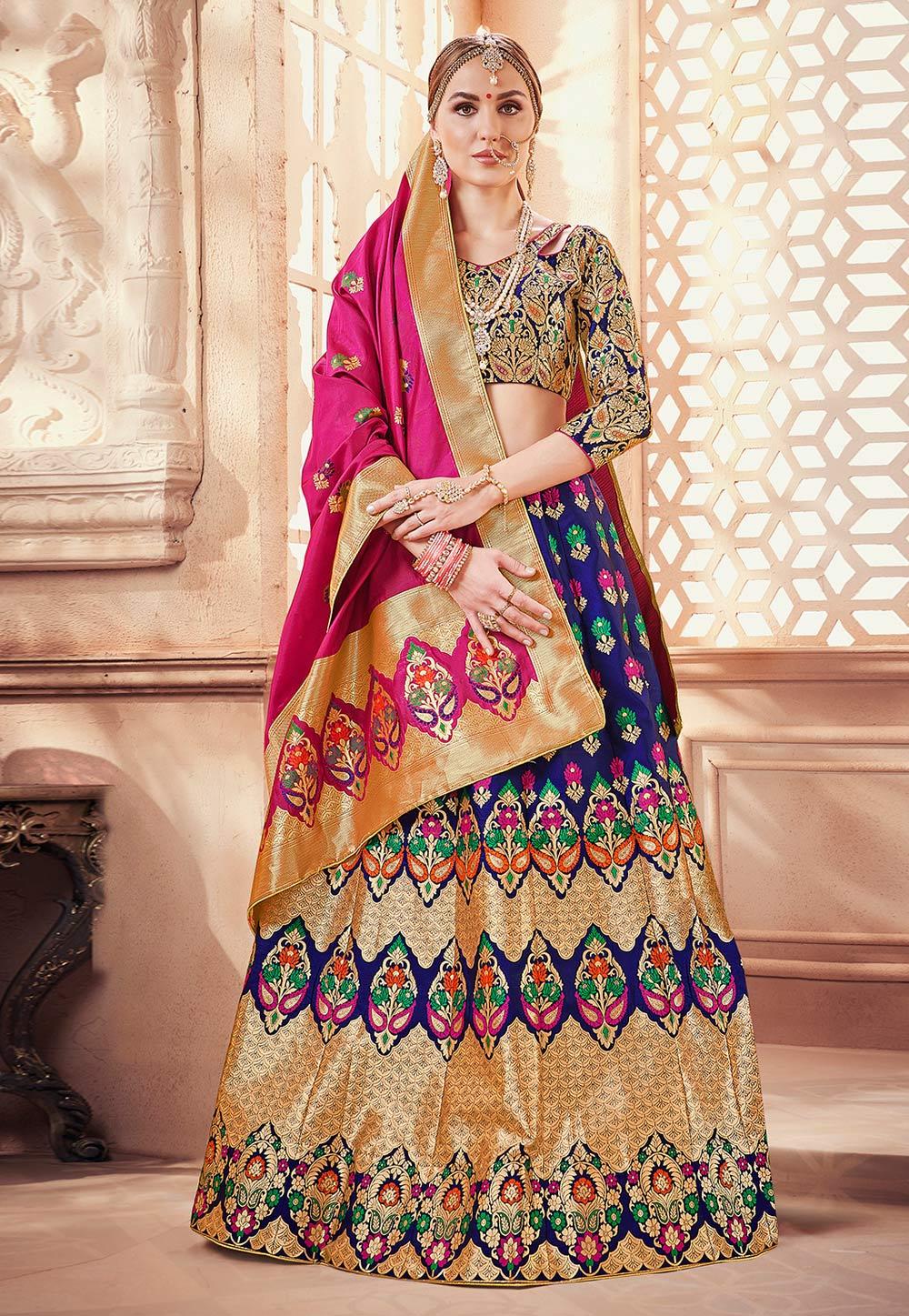 9e58381dfb Blue Banarasi Silk Circular Lehenga Choli 171736