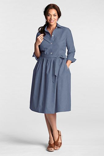 Women\'s Plus Size Chambray 3/4-sleeve Shirtdress from Lands ...