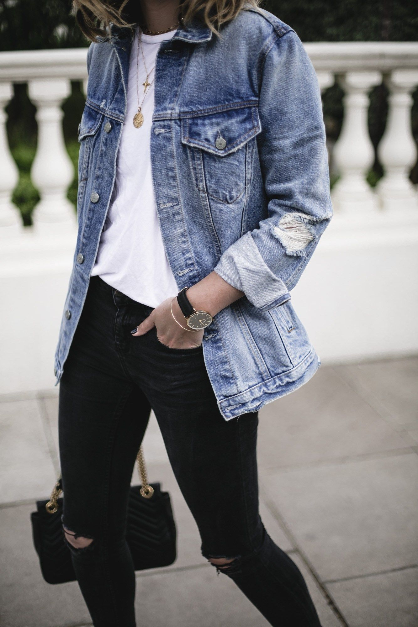 f7b91c8265 Emma Hill wears Grlfrnd oversized denim jacket, white t-shirt, black skinny  jeans, gold jewellery, Gucci Marmont bag