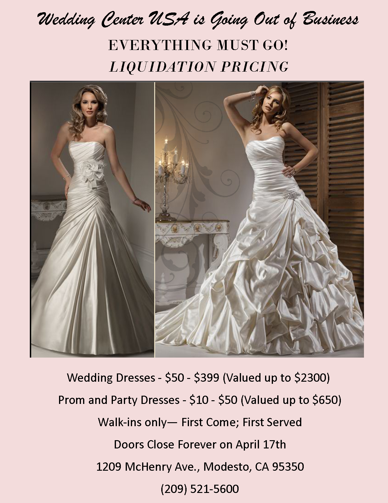 After almost 10 years in business, we're happily closing the doors forever in early April.  What this means is we're liquidating beautiful dress for next to nothing.  Hurry.  The best one will go fast.
