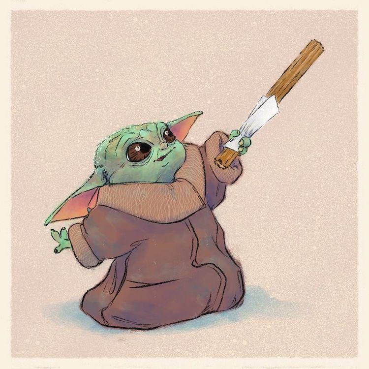 Illustrator Imagines Baby Yoda Eating All the Junk Food We ...