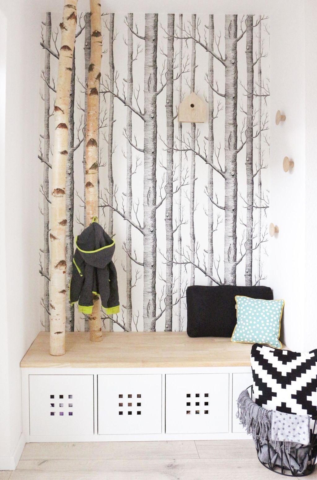 Meine selbstgebaute Garderobe mit Birkenstämmen. Ich liebe sie!!! #skani  #birke #garderobe #flur #diy #gingeredthings