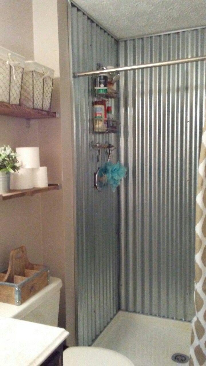 Farmhouse Corrugated Metal Shower In 2019 Make A Closet