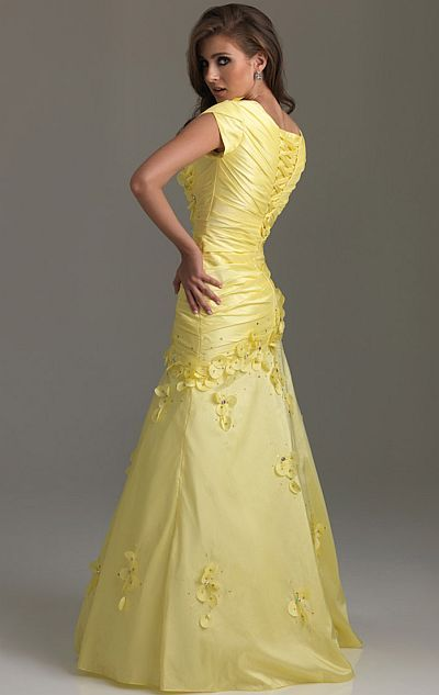 62a052a081dd Alternate view of the Night Moves Modest Prom Dress with 3-D Flowers 6580M  image