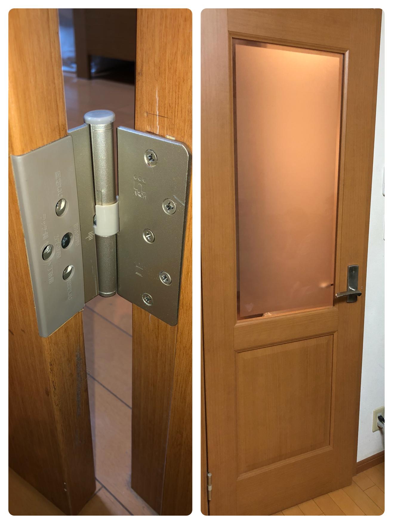 リビング扉の蝶番交換 洗面台 給湯器 トイレ