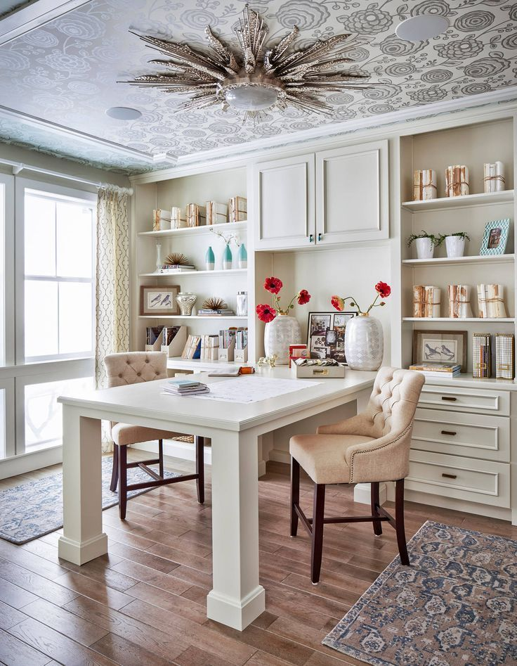 45 Stylish Home Office Design Ideas. I Love That Light Fixture. #home #