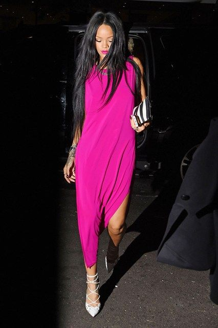 Rihanna in a pink dress by Helmut Lang #street