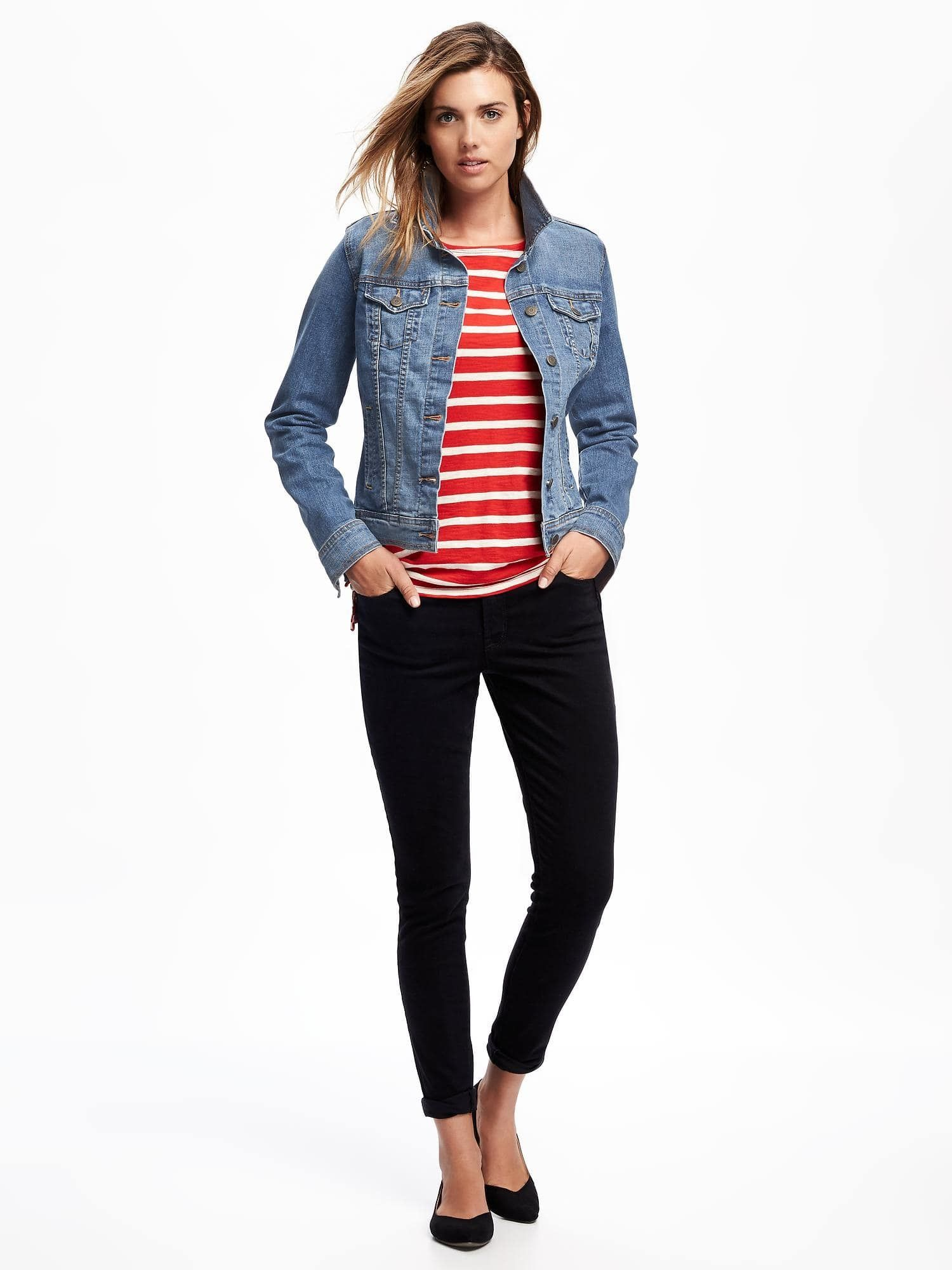 Women's Blue Denim Jacket, White and Red Horizontal