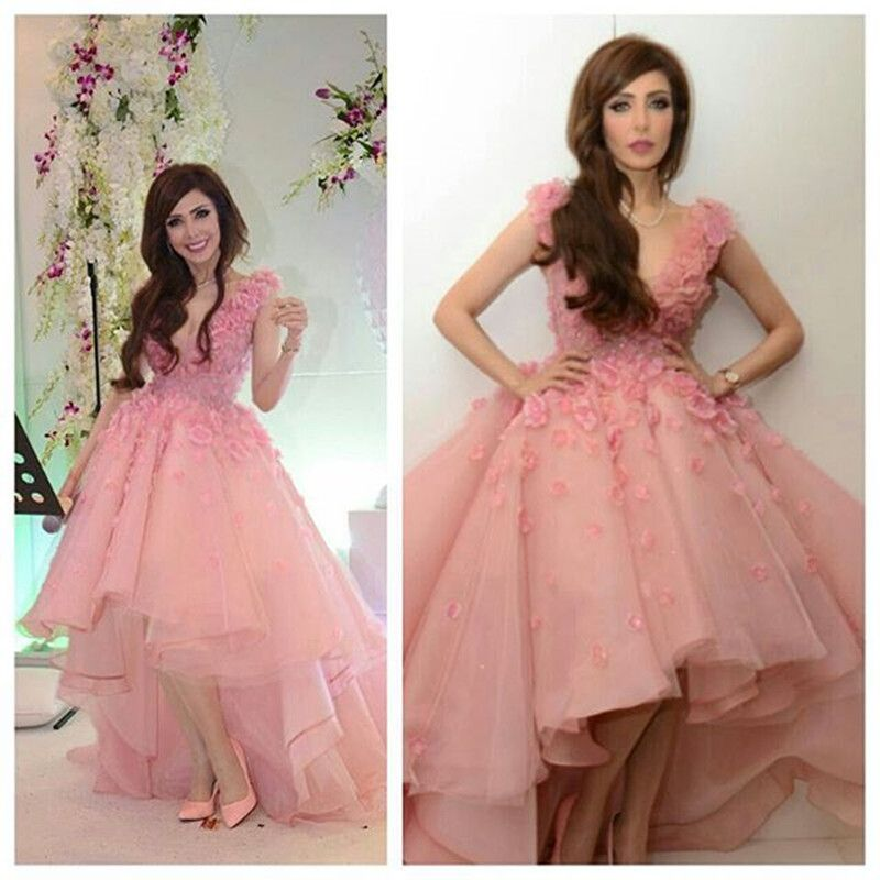 Pink Prom Dress Short Front Long Back Tulle Flowers V Neck Arabic ...
