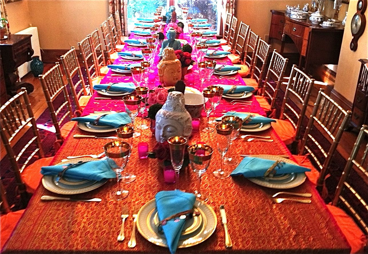 Indian dinner table decoration bollywood party theme for Dinner table decor