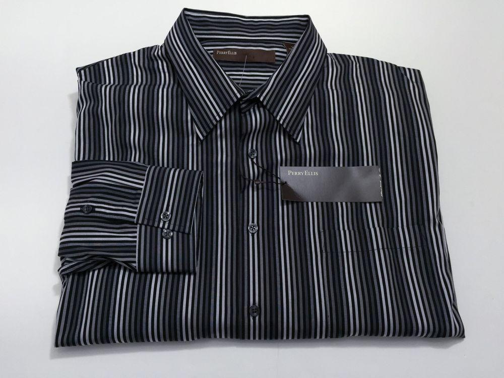 Perry Ellis XXL Men's Long Sleeve Button Front Black Gray Stripe NEW NWT $69.50 #PERRYELLIS #ButtonFront