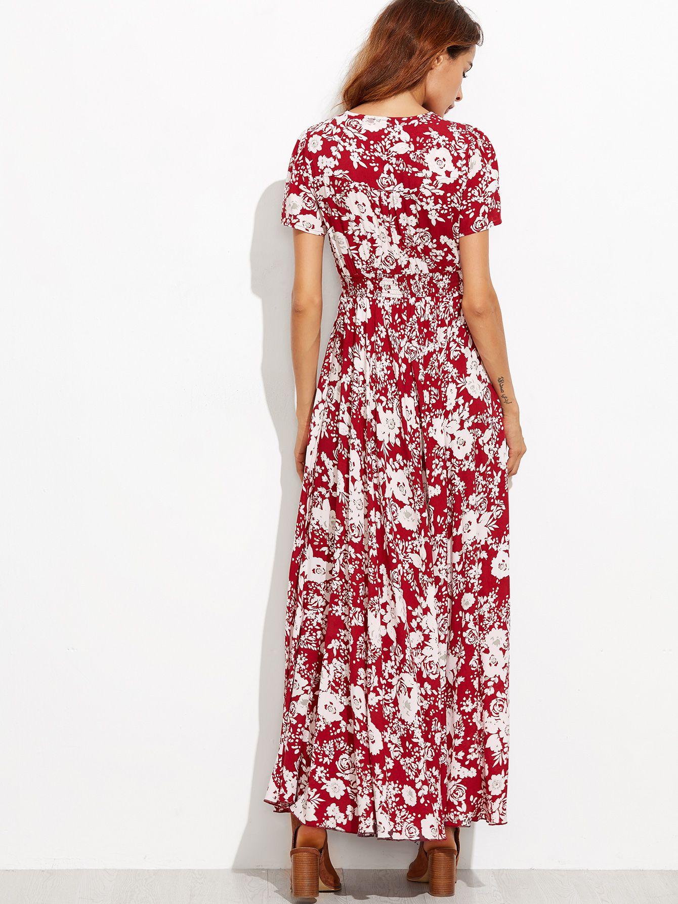 8e4eeb793ed2 V-neckline Calico Print Tassel Tie Dress burgandy  amp  white floral