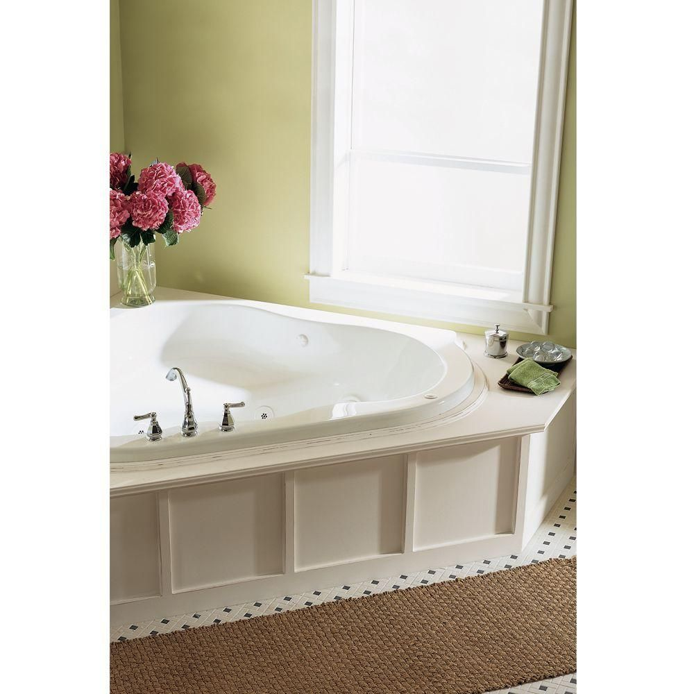American Standard Everclean Corner 5 ft. Whirlpool Tub in White ...