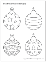Free printable round and teardropshaped Christmas tree ornaments