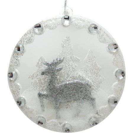 Holiday Time Christmas Ornaments 6-Piece White Glittered Deer Disc