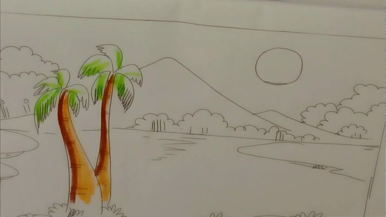 How To Draw A Village Nature Scenery Step By Step Very Easy Drawing Very Easy Drawing Oil Pastel Drawings Easy Drawings