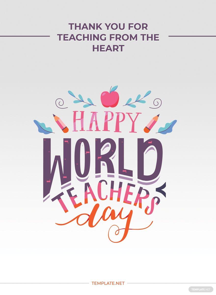 World Teachers Day Greeting Card Ad Paid Teachers World Day Card Greeting Teachers Day Greetings World Teacher Day Teachers Day Card