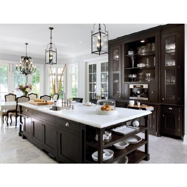 Kitchens   Chocolate Brown Stained Kitchen Cabinets Shelves Coffee Bar  White Marble Countertops Black Iron Lantern