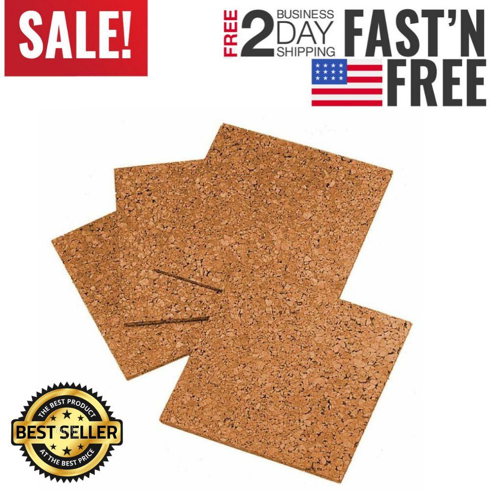 "4 Pack Cork Tiles Board Corkboard Wall Bulletin Natural Self-Healing 12/"" X 12/"""