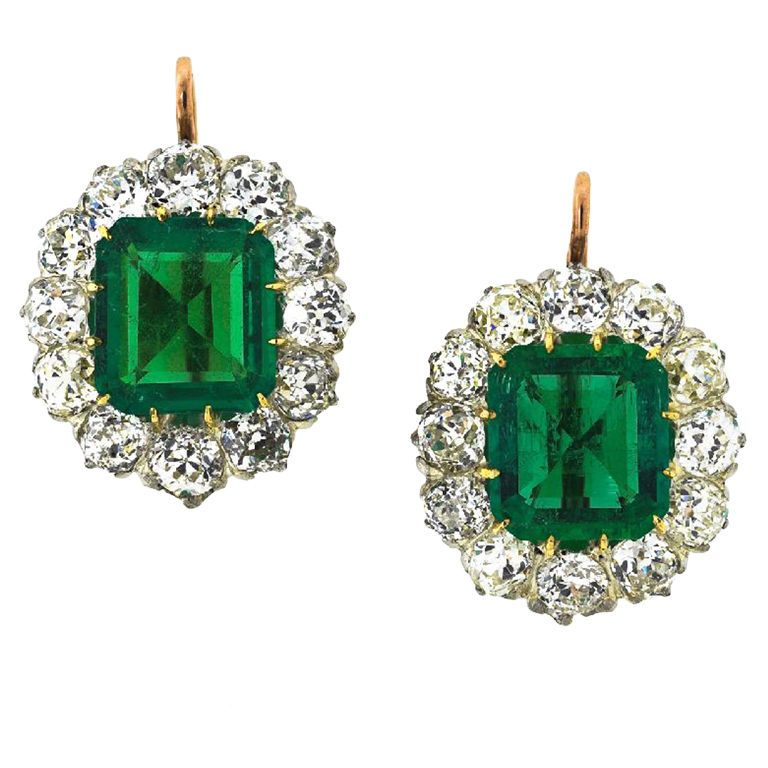 Exquisite Edwardian Emerald Diamond Platinum Gold Earrings Sheila Goldfinger Antiques Estate Jewelry