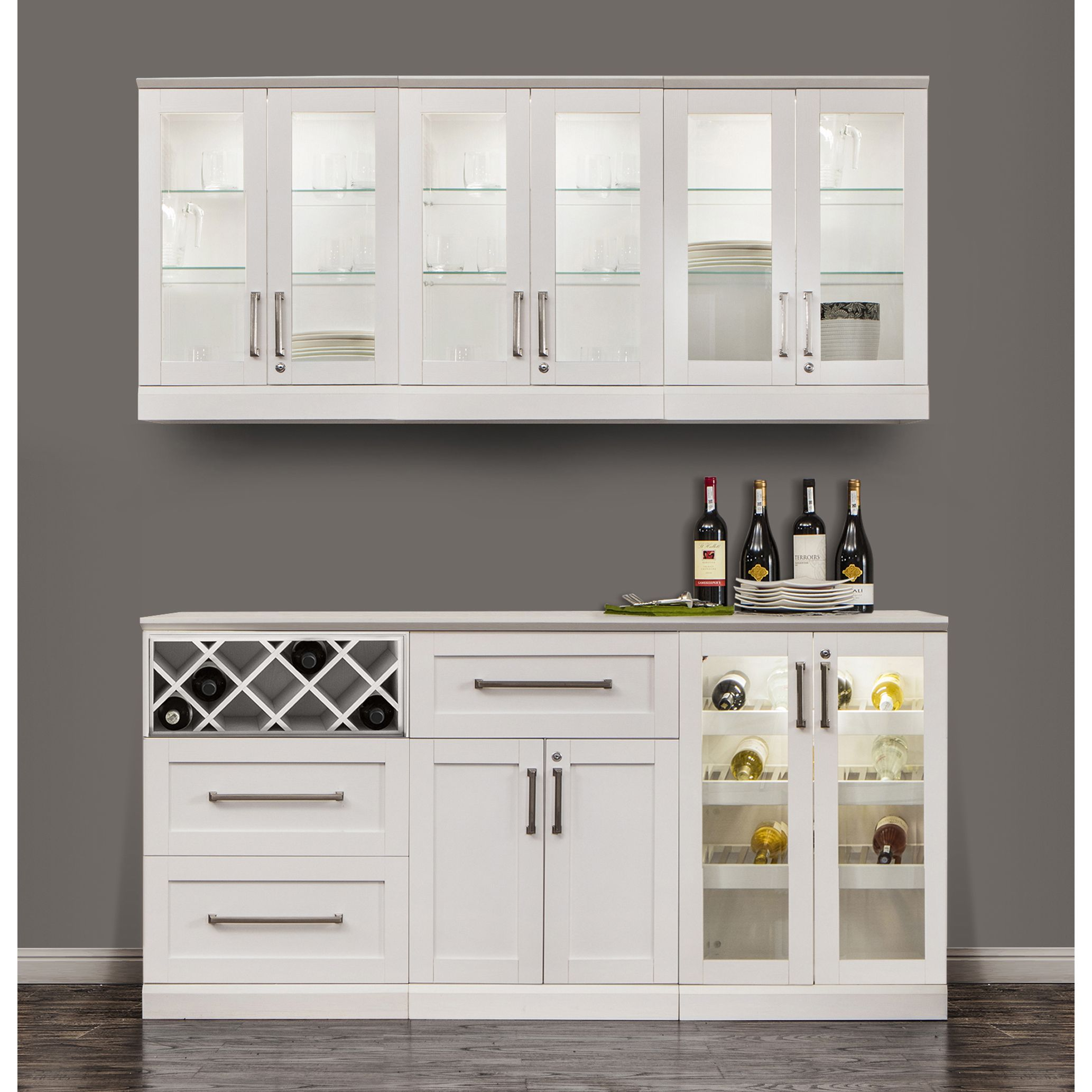 Newage Products Home Bar Shaker Style 7 Piece Cabinet System