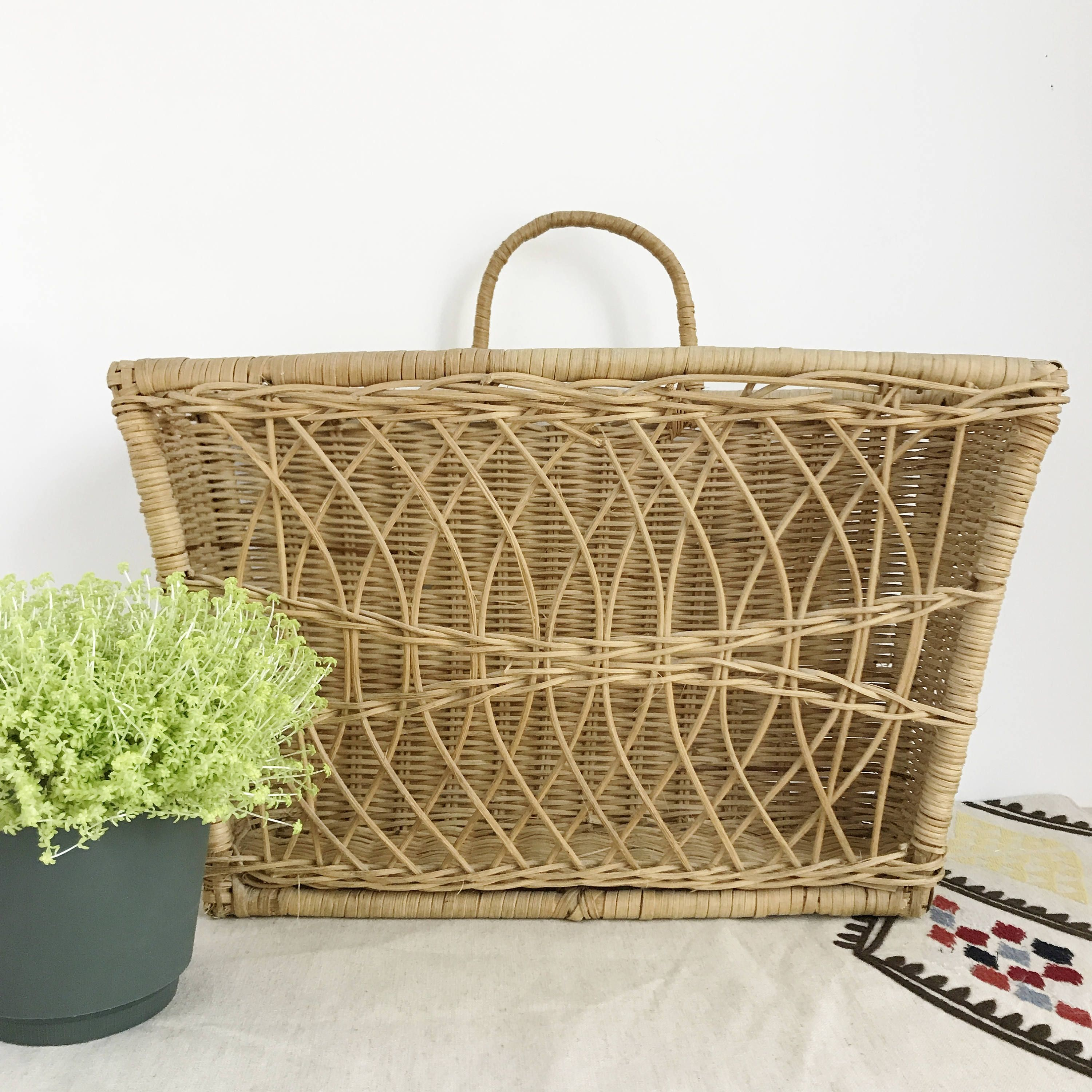 Vintage Woven Wall Hanging Basket With Handle Wall Pocket Magazine Holder Wall Storage Wicker Basket W Handl Woven Wall Hanging Baskets On Wall Hanging Baskets