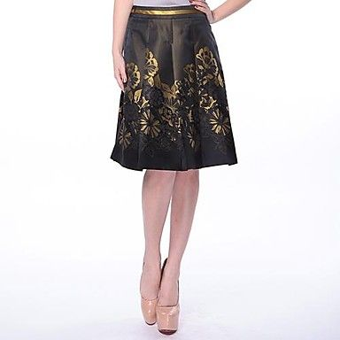 Cerel Elegant Print Vintage Midi Skirt  – USD $ 53.89
