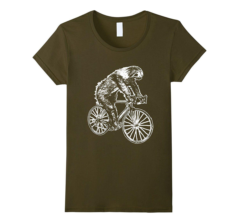 SLOTH on a Bike Tshirt- animal Tshirt
