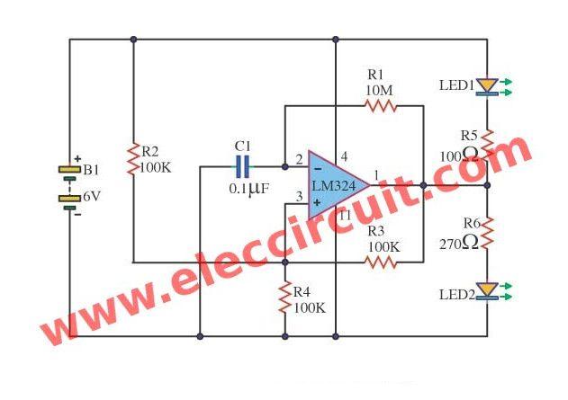op amp led flasher oscillator circuit using lm324 led flasher