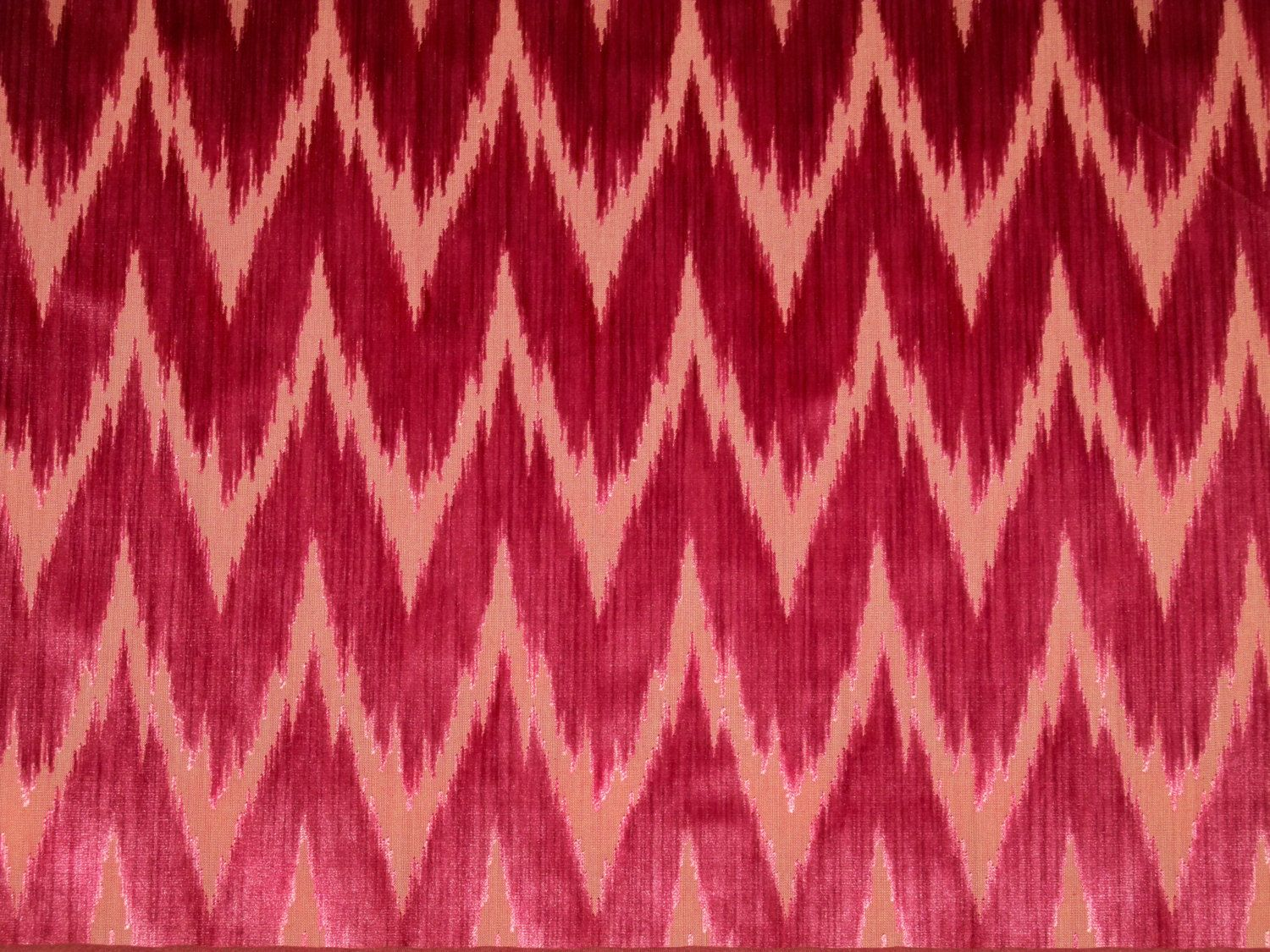CLARENCE HOUSE CASTELLO ARAGONESE FLAME STITCH STRIE CUT VELVET FABRIC RED