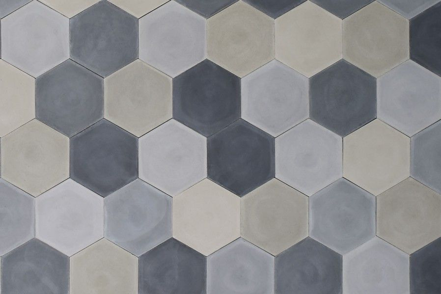 hex greymix cement tile