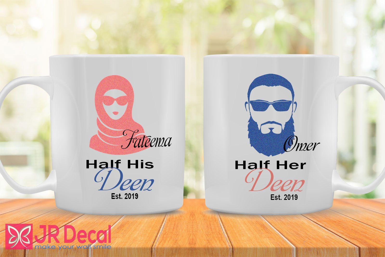 Personalised Name Half Her Deen and Half His Deen Mug set