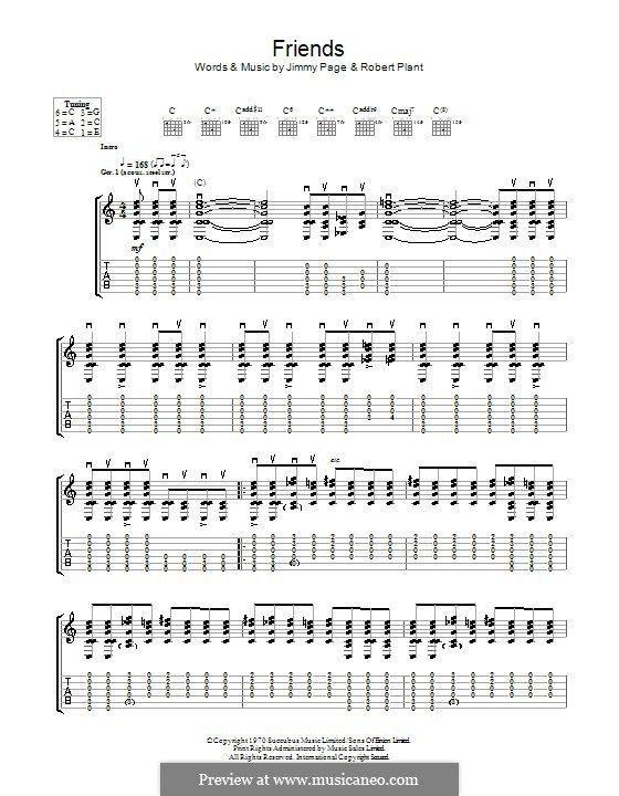 friends led zeppelin guitar tab by jimmy page robert plant music i love sheet music
