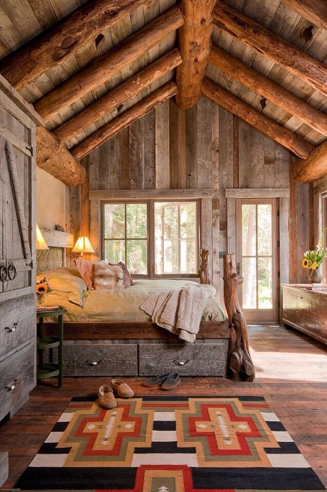 Rustic Log Cabin Bedroom Design Lake House Rough Wood Large Beams Love The Navajo