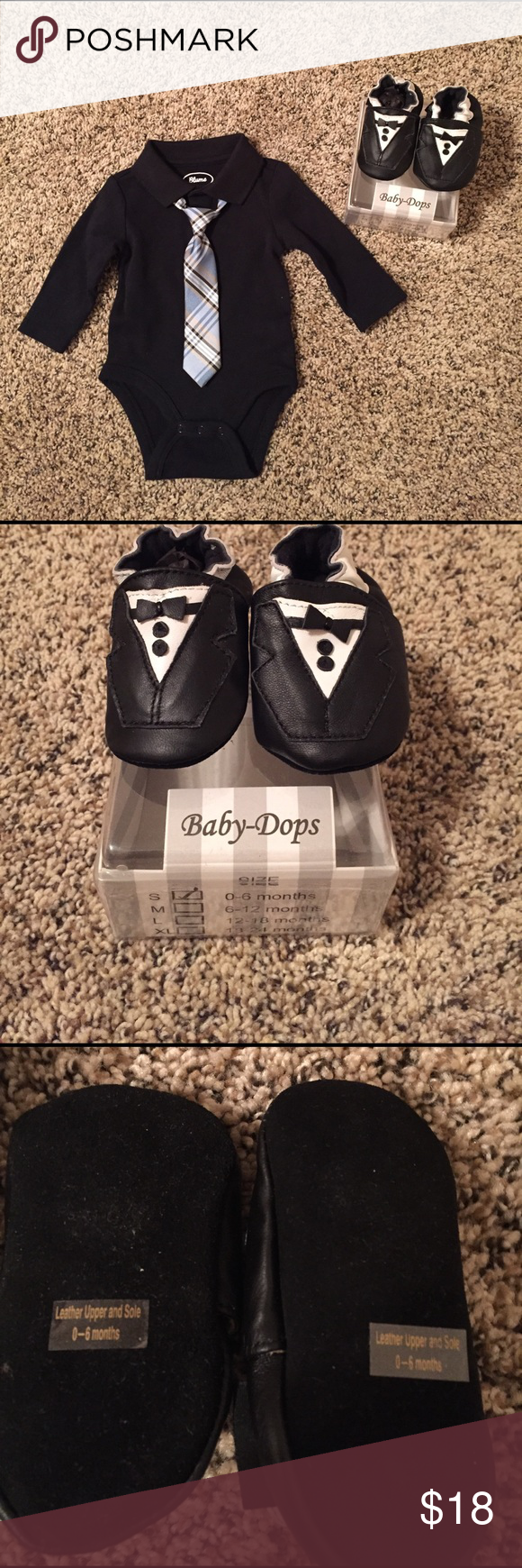 Bundle-tuxedo shoes and onesie with tie Black and white leather tuxedo slip on shoes, size 0-6 months. Never worn; new in box. Dark navy collared onesie with plaid tie, size 3 months. NWOT; never worn. Other